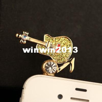 other 3.5mm iPhones/HTC/SUMSANG Min.order is $10(Mix order) Free Shipping New Rhinestone Guitar Cell Phone Dust Plug DP260