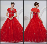 Ball Gown Reference Images Sweetheart New Arrival Ball Gown Wedding Dresses Floor Length Red Organza Short Sleeve Jacket Wedding Gowns Appliques Beads Sexy Bridal Dresses