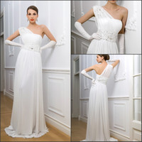Sheath/Column garden gloves - Free gloves graceful chiffon one shoulder a little sweep train garden wedding dresses beautiful appliques beaded column wedding bridal gowns