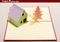 Wholesale Hot Sale Xmas Card house Design Christmas Cards Supplies Novelty Paper Creative DIY Craft Custom D Christmas Tree Presents