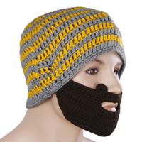 Wholesale Hats Beanie Skull Caps Bearded Wool Knitted Hats Beard Knitted Hat