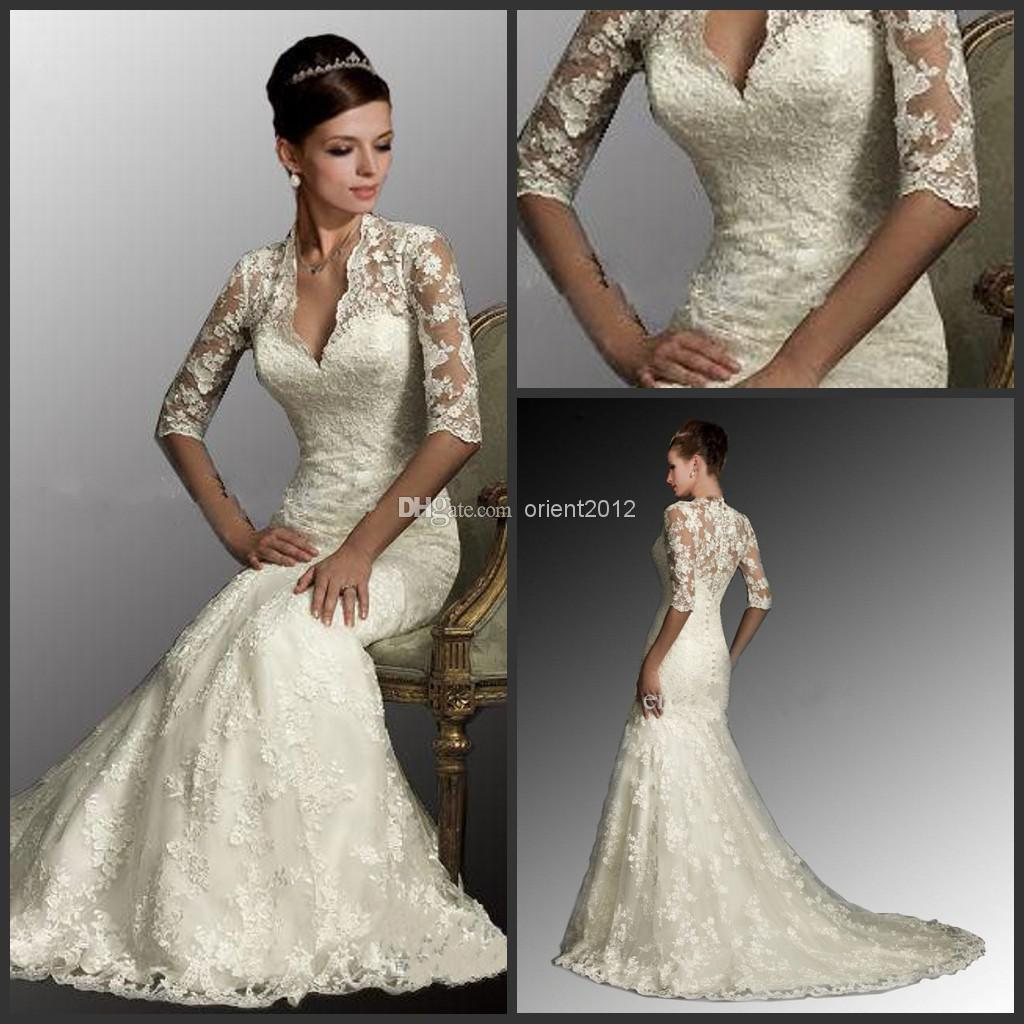 2014 sexy white dresses v neck 1 2 sleeves mermaid lace for Mermaid wedding dresses under 500
