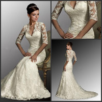 Wholesale 2014 Sexy White Dresses V Neck Sleeves Mermaid Lace Tulle Bolero Winter Wedding Dresses Sweep Train Bride Dress Gowns Bridal Dresses