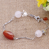 Wholesale 925 sterling silver bracelet female Korean fashion multilayer silver fashion jewelry red agate bracelet birthday gift