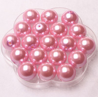 Wholesale 23mm Chunky Light Pink Acrylic Round Pearl Beads A75