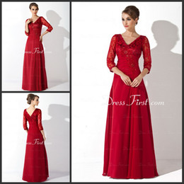 Wholesale V neck Lace Appliques Beads Column Long sleeves Chiffon Floor length Mother of the Bride Dresses B653