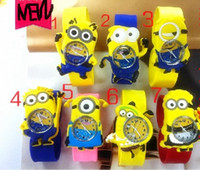Wholesale Despicable Me Minions Slap Watch Cute Cartoon Style Teens Silicone Wristwatch Children Kids Gift DHL
