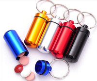 Wholesale Waterproof Portable sealed Aluminium Keychain Pill Box Travel Metal Holder Case Container