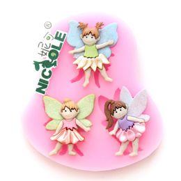 Wholesale Nicole F0568 Angel Silicone Fondant Cake mold Molds Handmade Craft Mold Molds Singapo Post