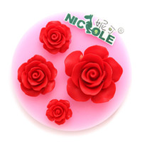 Wholesale Nicole F0569 Rose Flowers Food Grade Silicone Fondant Cake Molds Singapo Post