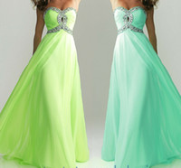 Wholesale Hot Sale Crystal Bead Criss Cross Bodice Empire Waistline A Line Sweetheart Neckline Floor Length Chiffon Evening Prom Dresses
