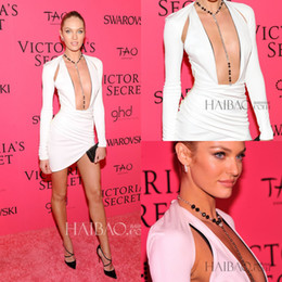 Wholesale 2015 Deep V Neck Long Sleeve Candice Swanepoel Victoria s Secret Party Dresses Sexy Sheat Short White Satin Pleat Short Prom Cocktail Dress