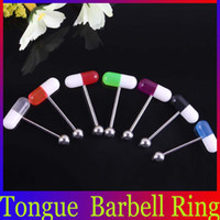 Tongue Rings Acrylic, Resin, Lucite Halloween Cheap 316L Stainless Steel Tongue Barbell Rings Acrylic Pill Capsule Ball Body Piercing Jewelry BJ054