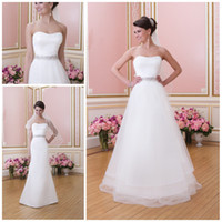 A-Line Reference Images Strapless Removable tulle skirt Top selling Strapless A line Sheath Full length Satin Tulle Long Beach Fall winter Wedding dresses