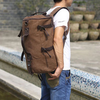 Wholesale Protable barrel Travel backpack bags men multi function sports handbag shoulder canvas bags black khaki t5781