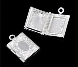 Silver Plated Photo Frame Rectangle Setting Locket Pendants 17x12mm