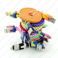 Wholesale A2 Braided Woven Charger Cable for Samsung Extension Micro V8 USB M ft Charging Wire Data Sync Cloth Colorful Cord for Blackberry HTC