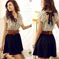Wholesale Without Belt Korean Women Summer New Fashion Chiffon Dress Short sleeve Dots Polka Waist Mini Beige Black W3132