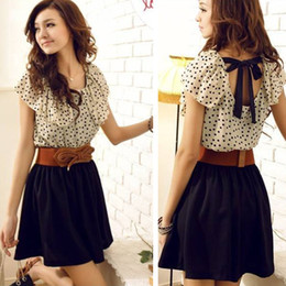 Wholesale Without Belt Korean Women Summer New Fashion Chiffon Dress Short sleeve Dots Polka Waist Mini Beige Black W3132