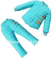 Wholesale baby children winter warm down jacket clothing set suit giraffe down coat thick pants duck feather sets