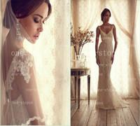 Wholesale Modest Lace Mermaid Wedding Dresses V Neck Short Cap Sleeves Vintage Garden Wedding Bridal Gown BO2220