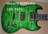 Solid Body 6 Strings Mahogany Best-selling SG Elegant Quilt Top Double Cutaway Beveled Edges Green burst Electric Guitar Abalone trapezoid inlays Gold Hardware