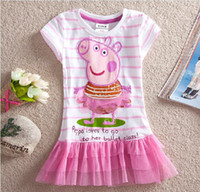 Wholesale Nova Kids Summer HOT Peppa pig boutique clothes Children Girls Cotton lace Short sleeve striped tutu Dress L