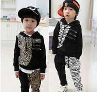 Wholesale Boys Suits Children s Clothing Sets Kids Hoodies Outfits Babe Zebra Leopard Sweater Jumper Z462