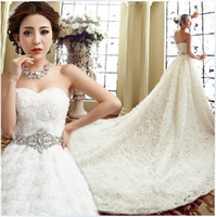 Wholesale 2014 Wedding dress Princess Bride strapless diamond lace wedding dress ball grown dress
