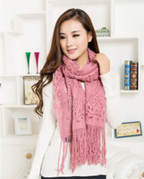 170cm*50cm   (10pcs lot)2014 NEW Item 7 colors for choice Leisure Warm Hollow Tassel Wool Scarf Free Shipping