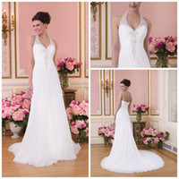 Wholesale Top selling Halter V neck Sheath backless Chiffon Crystal fashion lovely white Bridal gowns Wedding dresses Ruffles Garden wedding gown