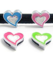 Wholesale MM Heart DIY Slide Charms A159 Zinc Alloy New Fit mm Wristband Belt make Bracelet