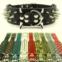 (10 Colors 4 Sizes) 2inch Wide Spiked&Studded Leather Dog Co...