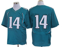 Football Men Short American Football Jerseys Teal Nylon Players Uniforms No 14 Jerseys Justin Blackmon Game Jerseys Chinese Made Top Quality Mens Sports Wear