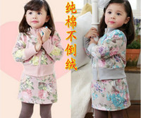 Wholesale Guang Dong Factory High Quality Children Clothing Fall Winter Girls Set Lady Floral Cardigan Skirt Pants Leggings Kids Suit QZ186