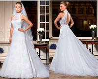 Wholesale 2013 Fall Vintage Wedding Dresses Sexy New High Neck Halter Applique Lace Detachable Train Backless Court Train A Line Bridal Gowns LT18