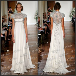 Wholesale 2014 Jewel Short Sleeve Crystals Evening Gown Rhinestone Sweep Train Ruched Chiffon Cheap Empire Sheath Wedding Dresses for Pregnant Women