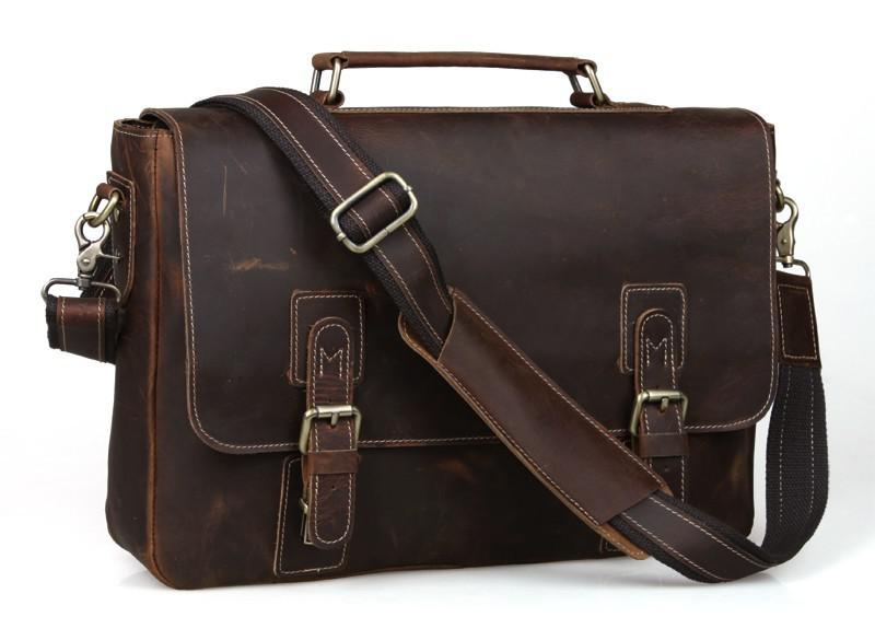 2014 Mens Vintage Bull Real Leather Briefcase Messenger Bag Online ...