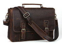 Wholesale 2014 Mens Vintage Bull Real Leather Briefcase Messenger Bag