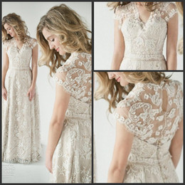 Wholesale 2014 Lace Back Wedding Dresses A vintage inspired lace back wedding dress glamorous with Short sleeves Summer Beach Bridal Wedding Gowns