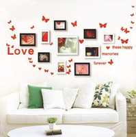 Wholesale Butterflies decoration for PHOTO FRAME Vine Quote Love Removable Wall Stickers Decal Wallpaper Nursery kids room