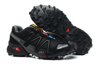 Climbing Flat Men 2014 Salomon Speedcross 3 Outlet Mens Hiking Running Shoes Barefoot Mountain Racing Shoes Cross-country Zapatillas Newest Style Pure Black