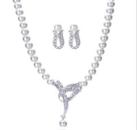 Wholesale Silver Plated Drop Pearl And Rhinestone Crystal Jewelry set imitation Pearl Necklace Earrings Wedding Bridal Jewelry sets YH4