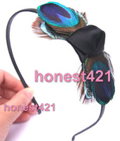 Teal And Black Cheap Fashion Jewelry Top Hat peacock teal feather