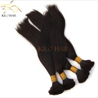 Wholesale Virgin Peruvian Hair Bulk Extension Straight Hair Bundles Braiding Human Hair without weft Mix Length Natural Color Hair Salon
