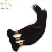 Wholesale Straight Human Hair Bulk Brazilian Braiding Hair Extensions without weft Hair Attachment Natural Straight Virgin Hair