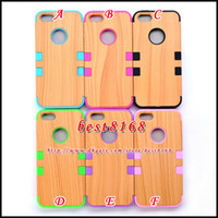 Wholesale Wood wooden tree Hybrid impact combo plastic hard case silicone rubber gel for iphone S G ballistic amor skin cover cases