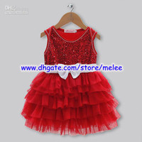 Wholesale Hot Sale New Christmas Girls Dresses Red With White Belt Yarn Dresses Princess Party Dresses Girl Tutu Skirt Children s Dresses Melee