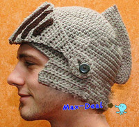 Wholesale new women amp men Handmade knitted hat knitted hat knight cap helmet knitted hat mask cap beanie