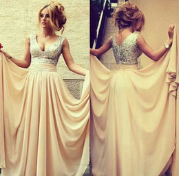 Wholesale Online Store V Neck Sleeveless Cream Sequin Draped Floor length Long Chiffon Formal Evening Dress Women WL168